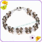 New Cut Facet Natural Smoky Crystal / Clear Rock Quartz Stone & 925 Sterling Silver (RH) Bead Fashion  Design Bracelet Love Gift