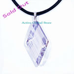 Sold Faceted Natural Clear Rock Crystal Quartz in Diamond Shape Sterling Silver Pendant  & Black Rope Necklace Gift