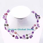 New Natural 7mm Tourmaline & 6mm / Water Drop Shaped Amethyst & 4 mm Clear Rock Crystal Quartz Fashion Design Necklace Gift -02