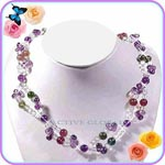 New Natural 7mm Tourmaline & 6mm / Water Drop Shaped Amethyst & 4 mm Clear Rock Crystal Quartz Fashion Design Necklace, Love Gift